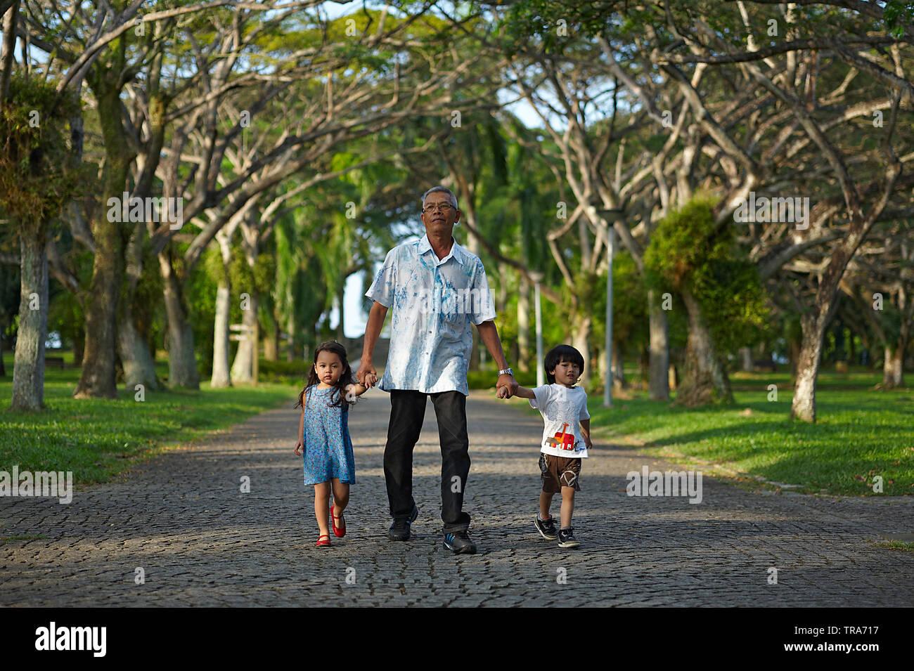 Asian nonno camminando mano nella mano con i suoi due giovani grand i bambini nel parco Immagini Stock