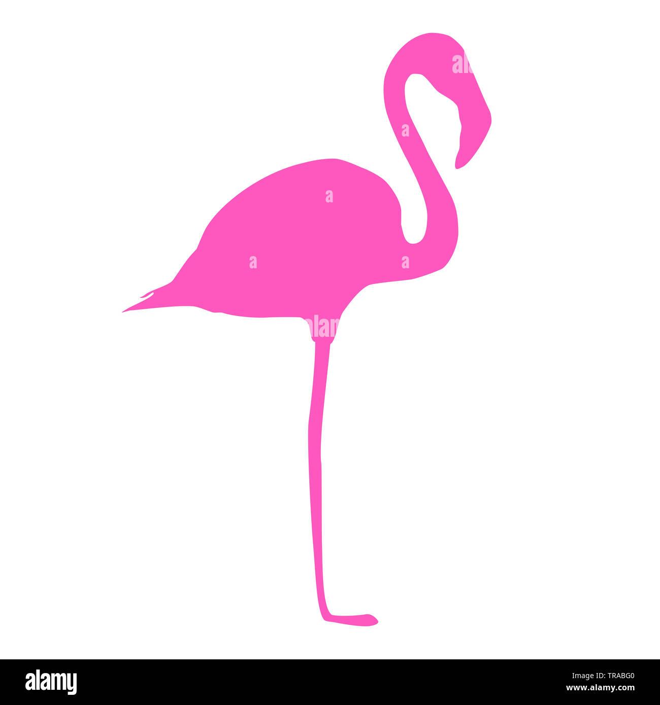 Fenicottero rosa icona isolati su sfondo bianco. Uccello tropicale silhouette semplice logo, estate disegno vettoriale EPS 10 Immagini Stock