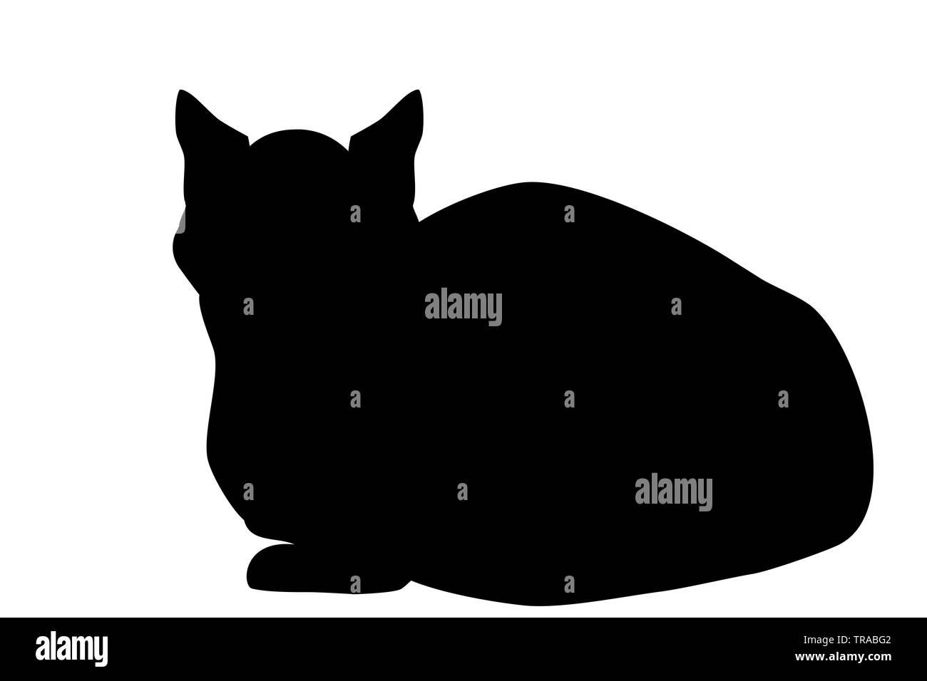 Gatto siamese gatto seduto silhouette isolati su sfondo bianco. Kitten semplice icona, EPS vettoriali 10 Immagini Stock