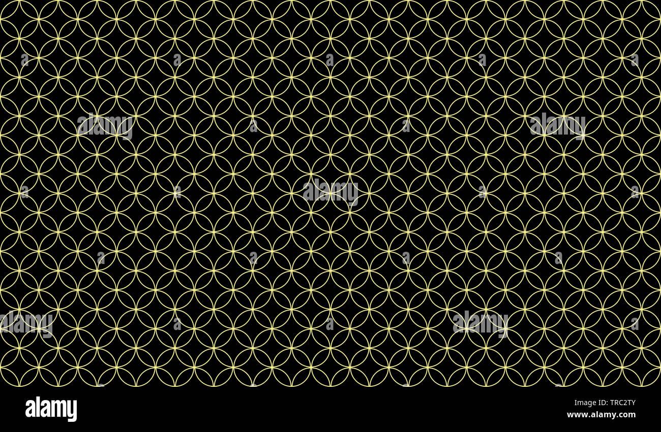 Abstract pattern senza giunture di sovrapposizione di sottili cerchi di colore giallo su sfondo nero, design simmetrico ispirazione formando un disegno piacevole Foto Stock