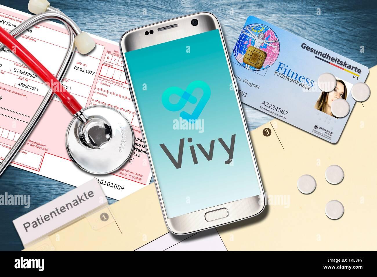 Vivy App auf dem Smartphone, Digitale Patientenakte, Deutschland | Vivy App, digital patient chart, Germania | BLWS520172.jpg [ (c) blickwinkel/McPHOTO Immagini Stock