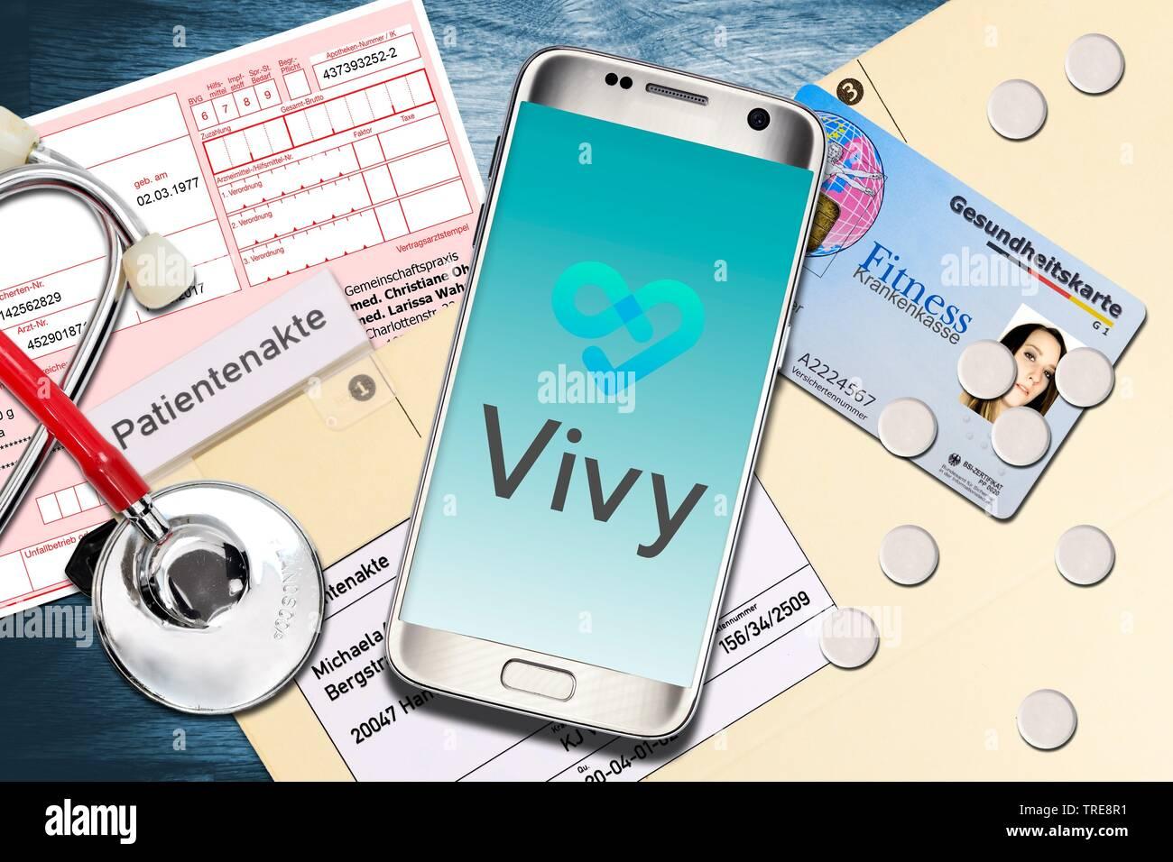Vivy App auf dem Smartphone, Digitale Patientenakte, Deutschland | Vivy App, digital patient chart, Germania | BLWS520173.jpg [ (c) blickwinkel/McPHOTO Immagini Stock