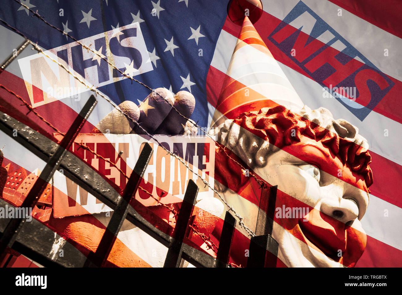 NHS (Servizio sanitario nazionale) il logo a stelle e strisce di bandiera. Stati Uniti d'America/Stati Uniti d'America UK Trade trattativa/Brexit Concetto di immagine. Immagini Stock