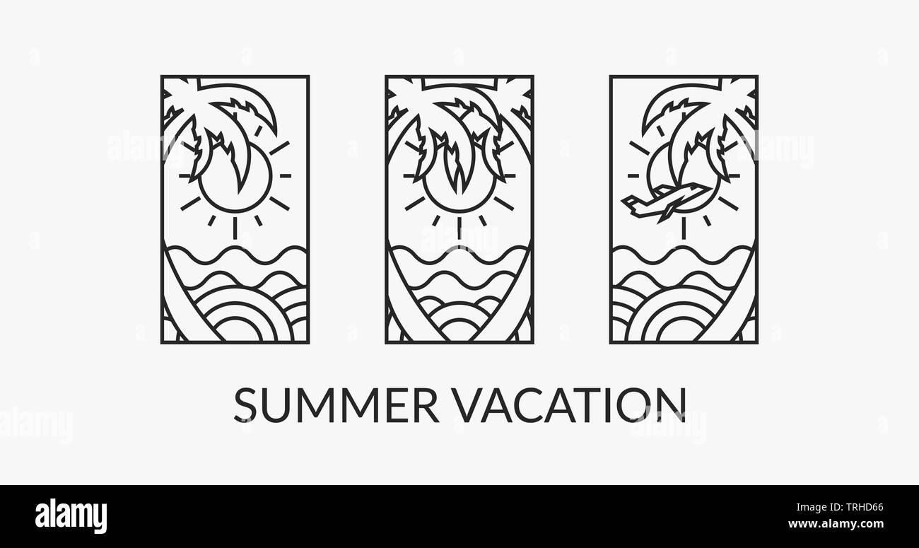 Orario estivo logotipo design, arte digitale, paradiso delle vacanze. EPS10 spiaggia modello poster, striscioni. Immagini Stock