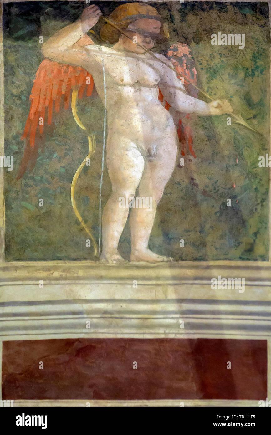 Amorino con gli occhi bendati, Cappella Maggiore, 1452-1466, Basilica di San Francesco e Basilica di San Francesco, Arezzo, Toscana, Italia, Europa Foto Stock