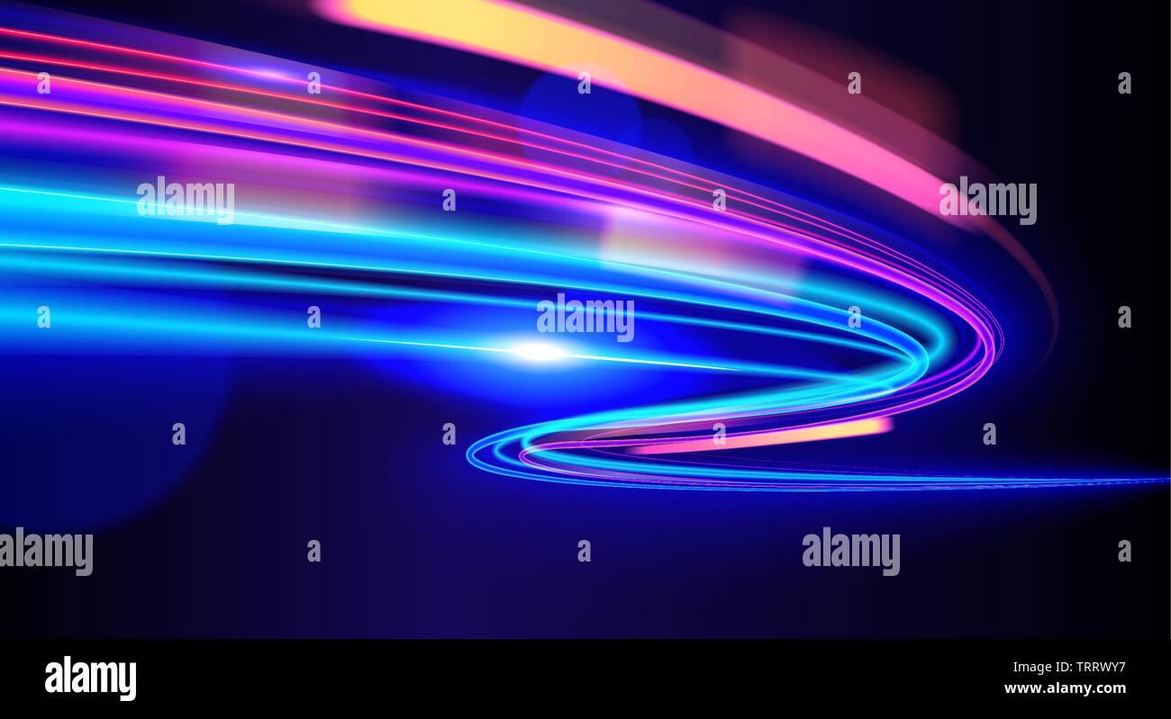 Una illustrazione di slow shutter per effetto di luce in arte vettoriale. Semaforo, veicolo leggero, la velocità della luce nel cyberpunk, luci al neon effetto, ecc Illustrazione Vettoriale
