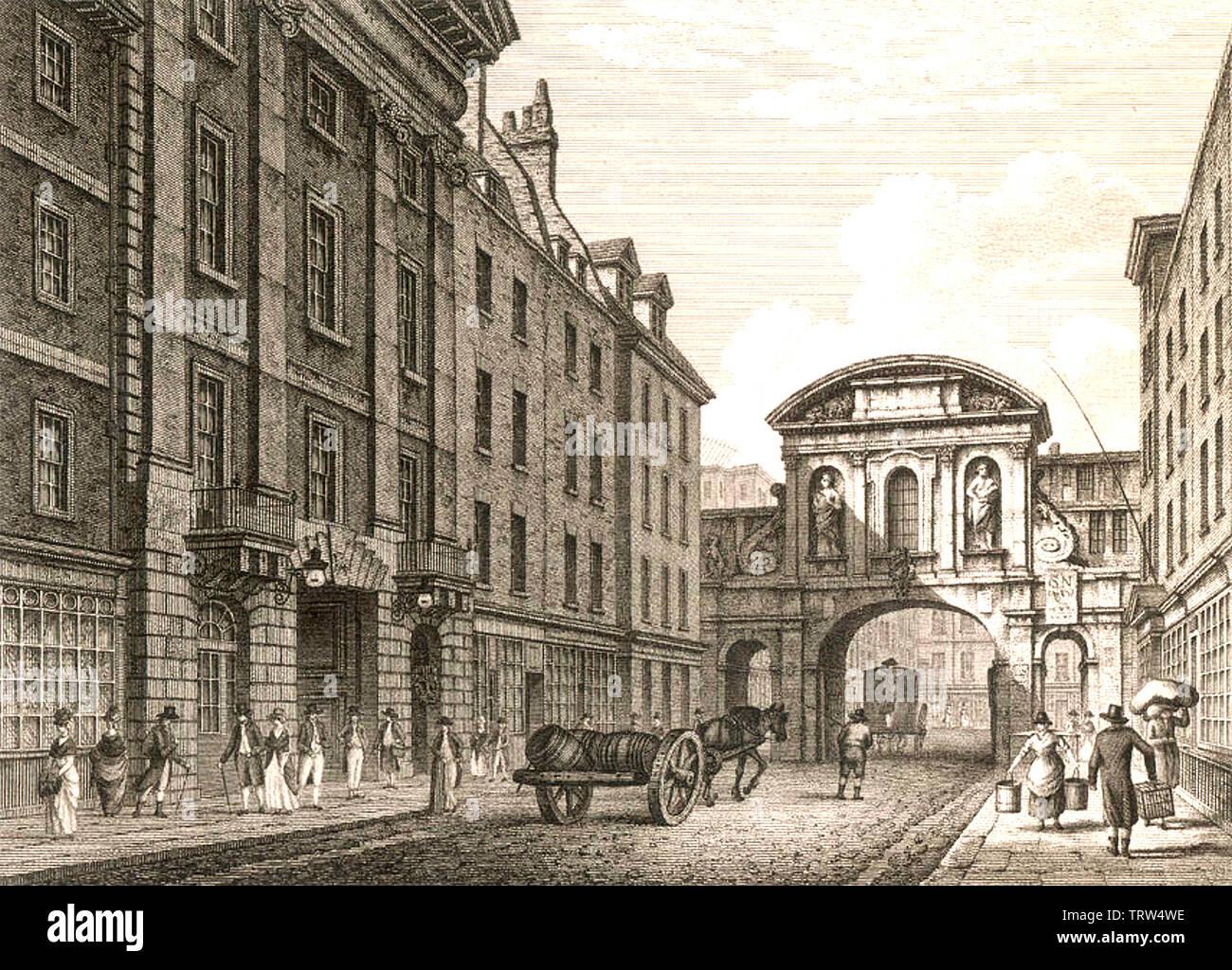 TEMPLE BAR a Londra il trefolo nel 1800 Immagini Stock