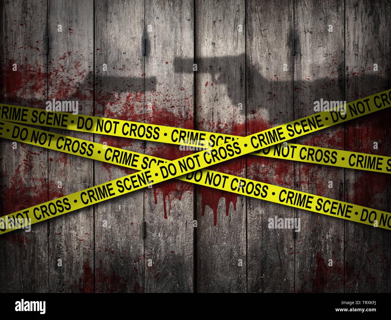 Scena del crimine di non attraversare il nastro con parete di sanguinose e ombra di pistola sullo sfondo di ripresa. tema horror Immagini Stock