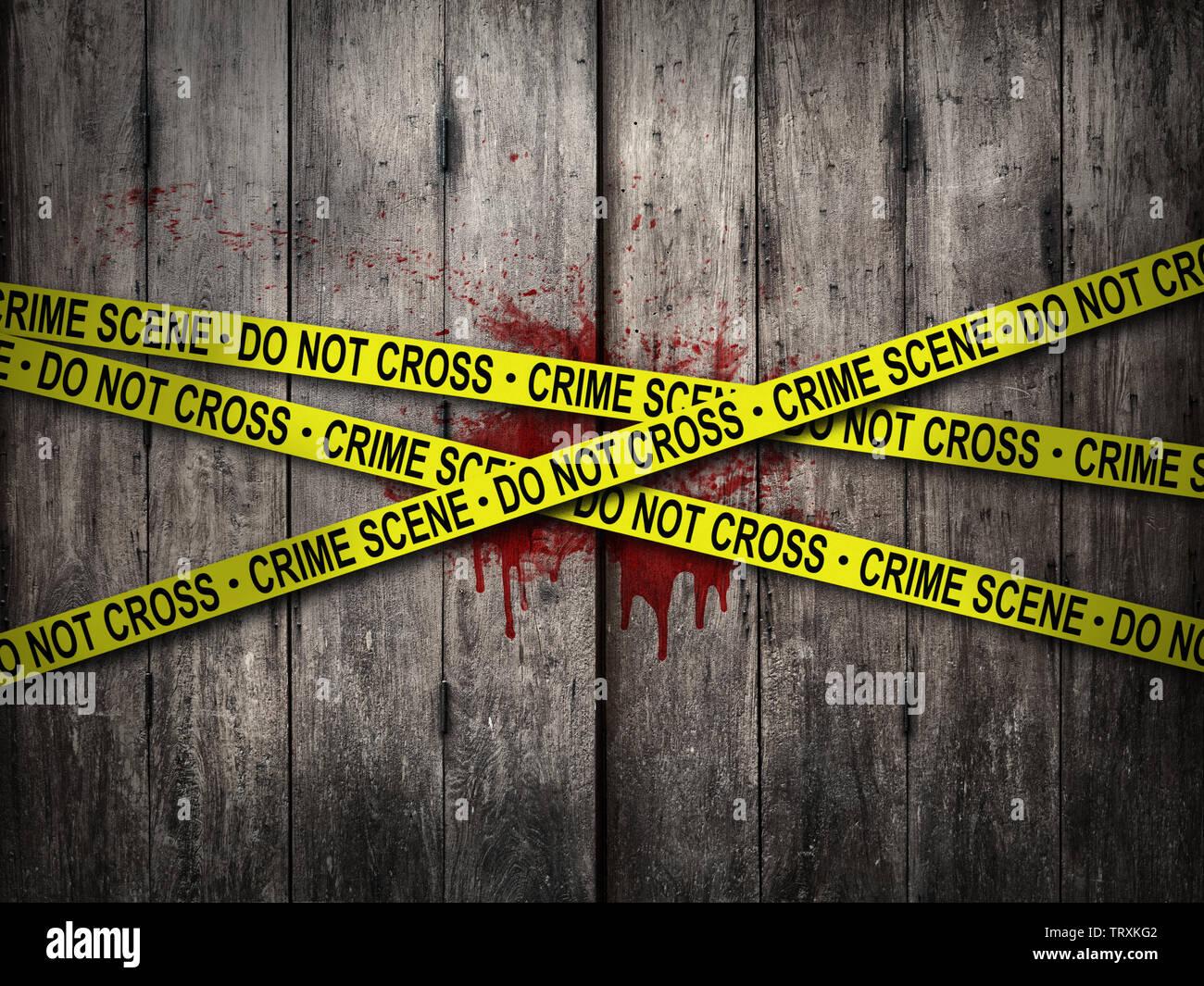 Scena del crimine di non attraversare il nastro con parete di sanguinose background. tema horror Immagini Stock