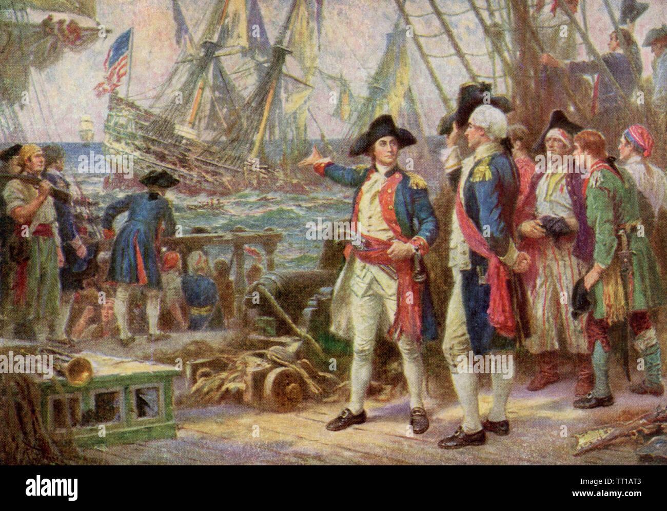 """Questa illustrazione risale al 1922. La didascalia recita: La nave affondata nella vittoria. La foto il titolo è il nome dato al dipinto dal J.L.G. Ferris, un pittore americano che morì nel 1930. La battaglia risale alla Rivoluzione Americana, specificamente il 23 settembre 1779. Il sito è off Flamborough Head, Yorkshire, Inghilterra. Il Bon Homme Richard ha rilevato la Royal Navy ship Serapide. La vittoria sembrava essere certian per il britannico e il comandante britannico ha chiesto John Paul Jones, testa del Bon Homme Richard, per arrendersi. Jones ha risposto: """"Io non hanno ancora iniziato la lotta"""". Jones è riuscito poi a la Immagini Stock"""