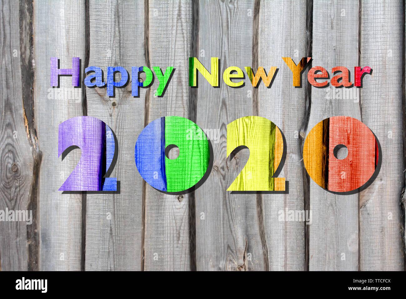 Calendario Taglio Legna 2020.Nuovo Anno 2020 Arcobaleno Auguri Colorati Concetto Di