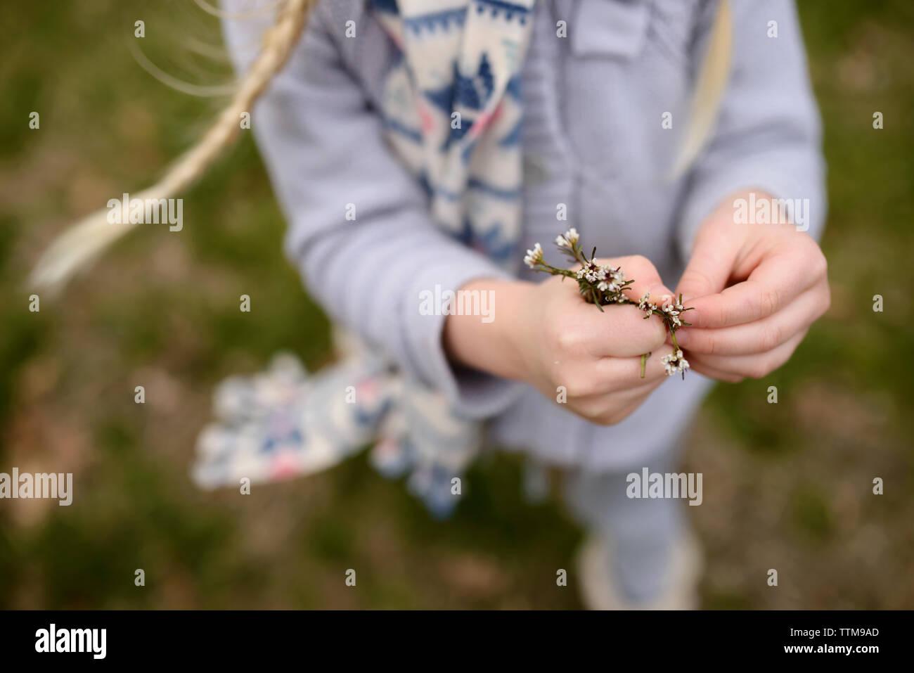 Sezione bassa della ragazza con fiori sul cortile Immagini Stock