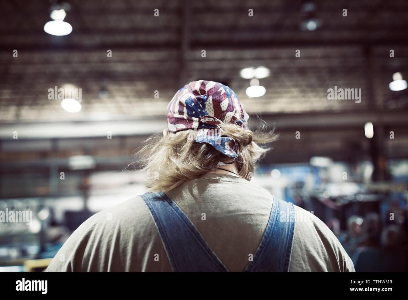 Vista posteriore del collare blu lavoratore nell'industria siderurgica Immagini Stock