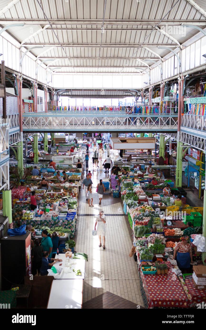 Polinesia francese, Tahiti. Il mercato comunale di Papeete. Immagini Stock