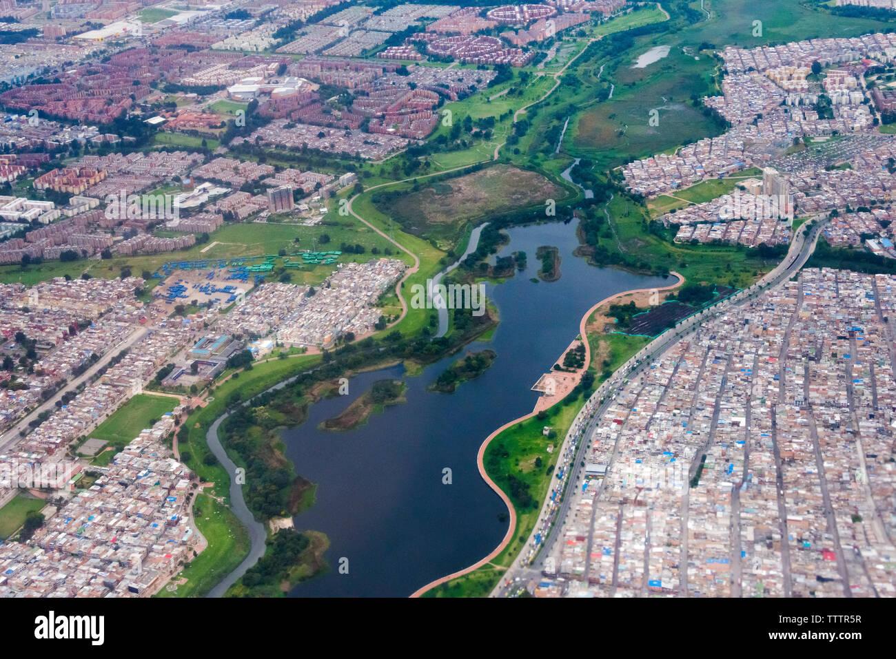 Vista aerea di Bogotà, Colombia Immagini Stock