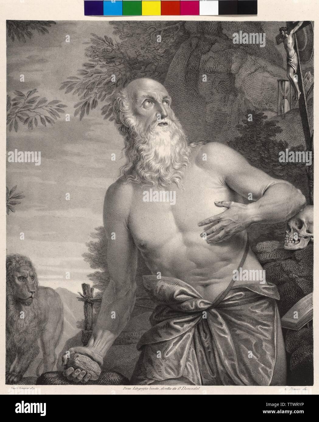 Girolamo, saint, litografia, stampato sotto la gestione di O. Donadel (Litografia Veneta) basato su disegno di Giovanni Busato, basata su un dipinto di Paolo Veronese, Additional-Rights-Clearance-Info-Not-Available Immagini Stock