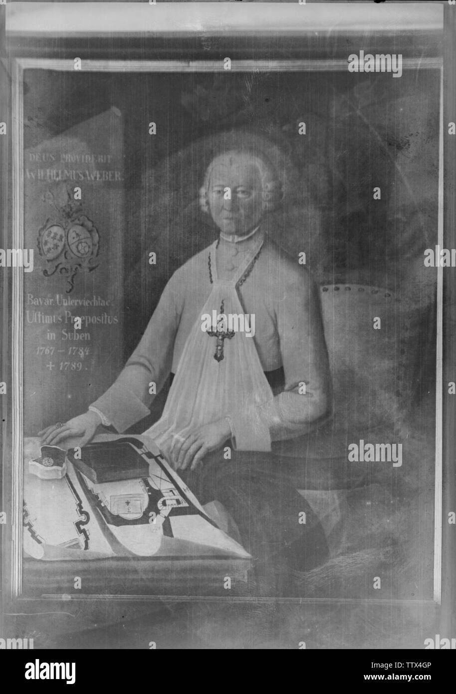 Abate Wilhelm Weber, pittura ad olio su tela in Abbazia Agostiniana in Reichersberg, Austria superiore, Additional-Rights-Clearance-Info-Not-Available Immagini Stock