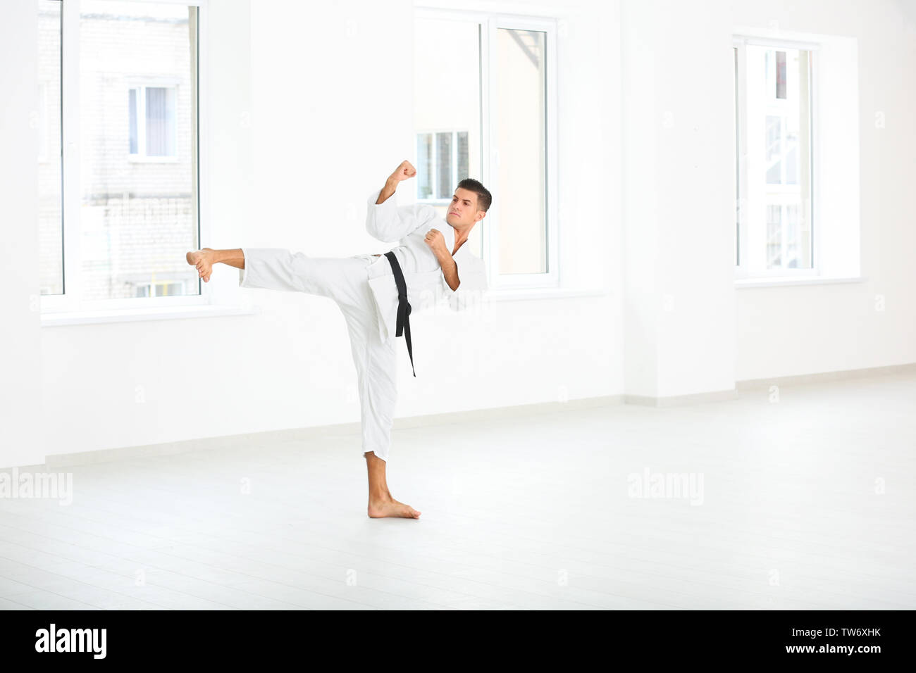 Maschio di istruttore di karate formazione nel dojo Immagini Stock