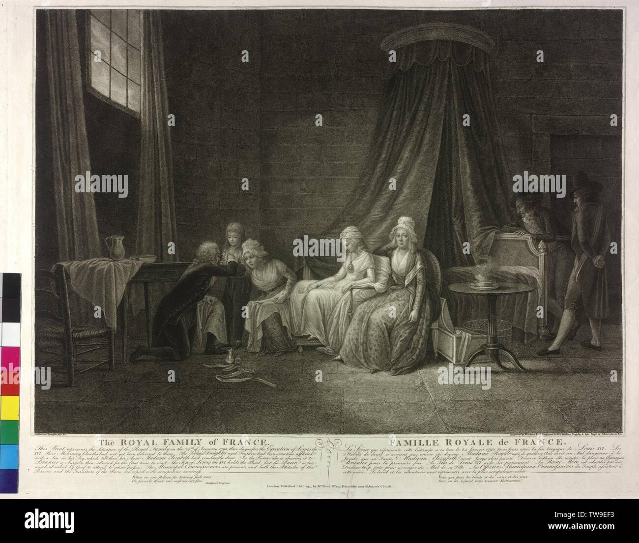 La famiglia reale di Francia dopo la esecuzione di Louis XVI, attacco / punteggiato da Mariano Bovi a Domenico Pellegrini (?), che fa parte di una serie sexpartite 'una storia della grafica Louis XVI e la famiglia reale di Francia', la famiglia del re Luigi XVI è nel tempio di Parigi in cattività, il re era di fronte a tre di tenere un incontro mettere la morte, il superstite gobba di dipendenti ma né né lutto, abito da hims questo né non portata era nel mezzo della seduta Marie Therese, la figlia del Royal, si indossa un medaglione con il p, Additional-Rights-Clearance-Info-Not-Available Immagini Stock
