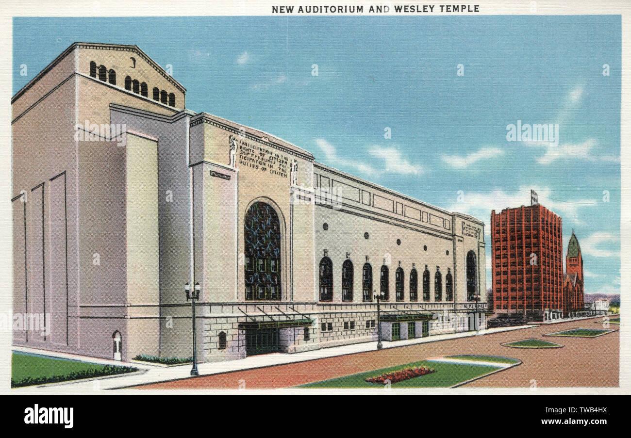 Nuovo Auditorium e Tempio di Wesley, Minneapolis, Minnesota, Stati Uniti d'America. Data: 1935 Foto Stock