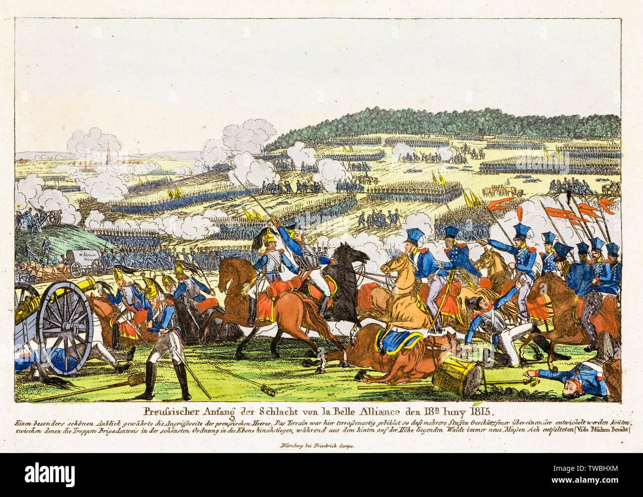 Truppe prussiano nella battaglia di Waterloo, 1815, stampa 1815 Foto Stock