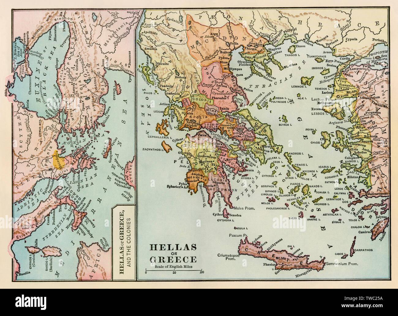 Cartina Della Grecia Antica In Italiano.Mappa Di Grecia Antica E L Impero Greco Litografia A Colori Foto Stock Alamy