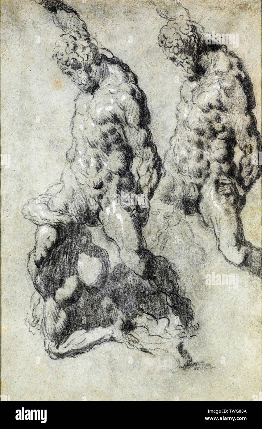 Jacopo Tintoretto, due studi di Sansone che uccide i Filistei, disegno, 1518-1594 Immagini Stock