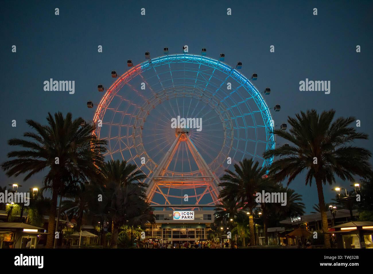 Orlando, Florida. Maggio 26, 2019. Orlando occhio è un 400 piedi di altezza ruota panoramica Ferris, nel cuore di International Drive area Foto Stock