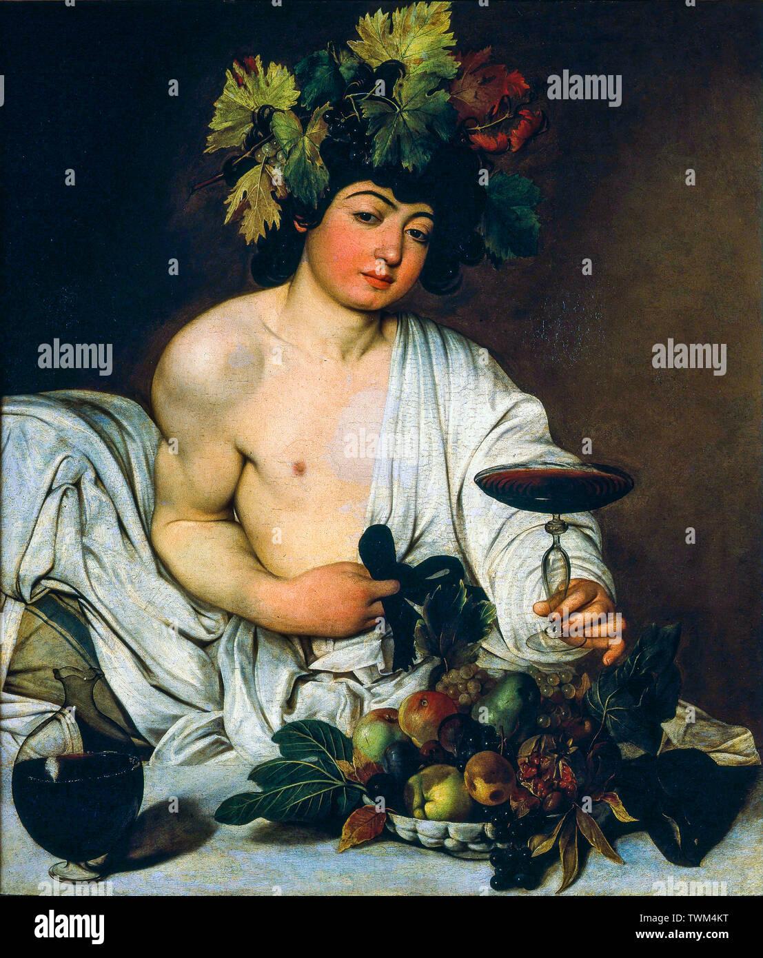 Caravaggio, l'adolescente di Bacco, pittura, circa 1595 Immagini Stock
