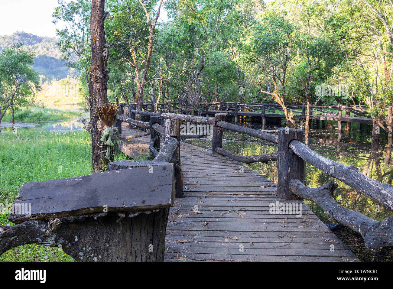 Nero ponte in legno sul serbatoio a pang oung Immagini Stock