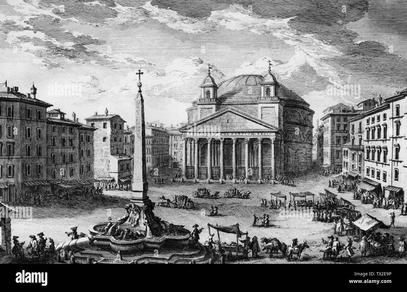 Italia, Roma, la Piazza del Pantheon in una incisione di Giuseppe Vaso, 1750 Immagini Stock