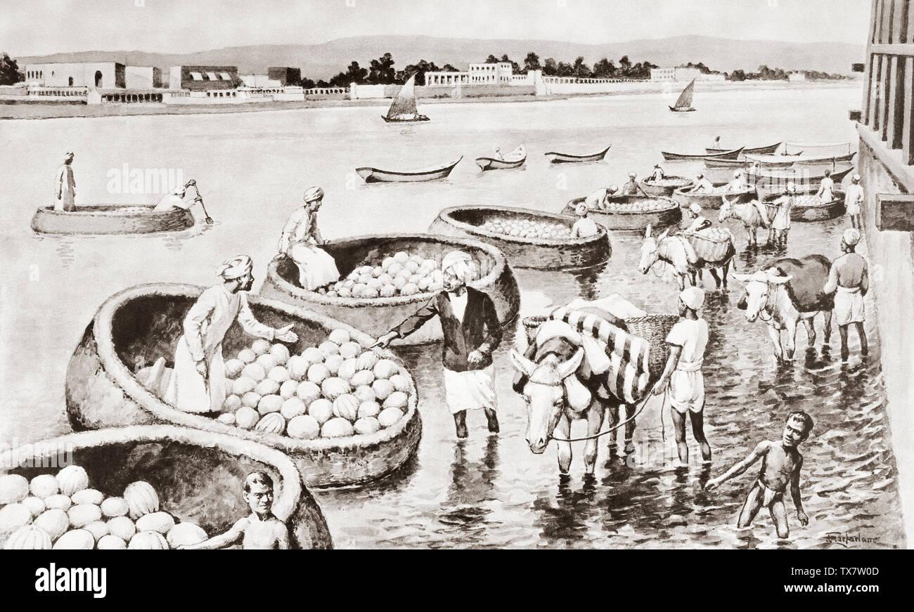 Rotondo piccolo artigianato noto come Gufas, in uso sul fiume Tigri. Questi Gufas sono molto adatti per la navigazione allagato il terreno come essi sono molto difficili da ribaltare. Dopo un lavoro di J. Macfarlane. Da una stampa contemporanea c.1935. Immagini Stock