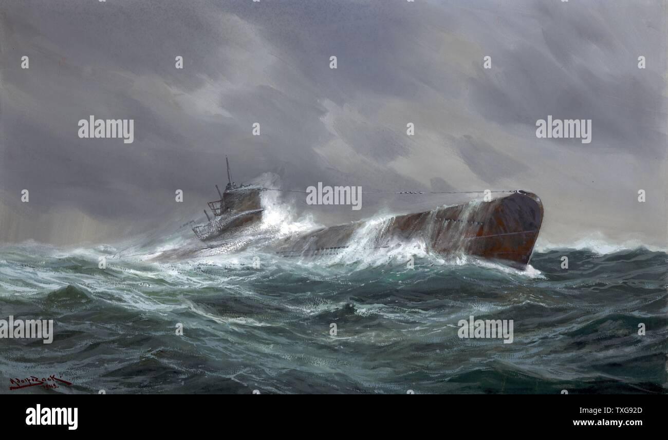 Adolf Bock scuola tedesca II guerra mondiale : 'Submarine in mare. Marina militare tedesca di U-boat che viaggiano sulla superficie in un mare increspato, membri di equipaggio sulla torre conning pittura Immagini Stock