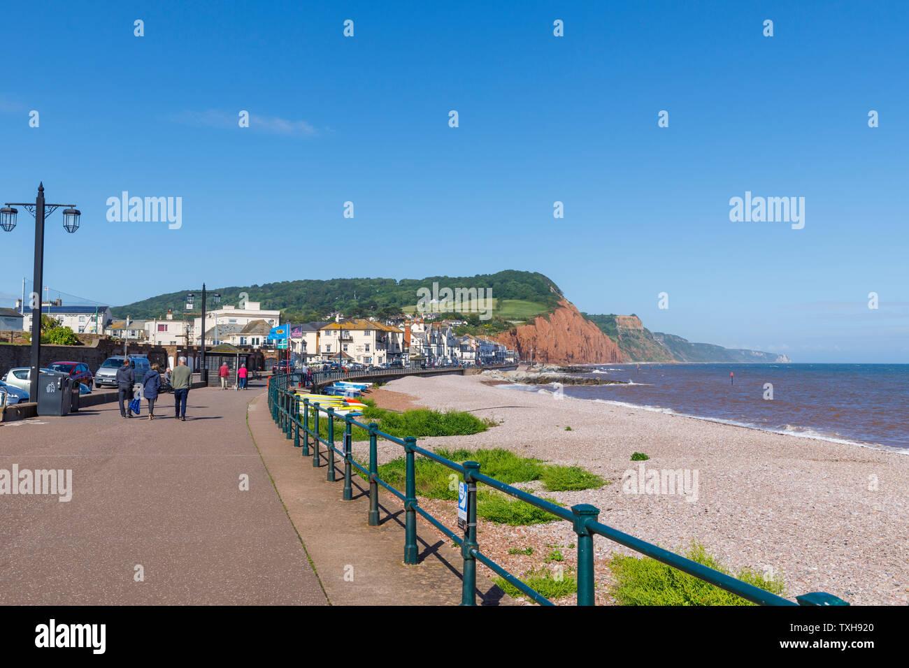 La passeggiata sul lungomare e la spiaggia di ciottoli guardando ad est a Sidmouth, una piccola e rinomata costa sud cittadina balneare nel Devon, sud-ovest Inghilterra Foto Stock