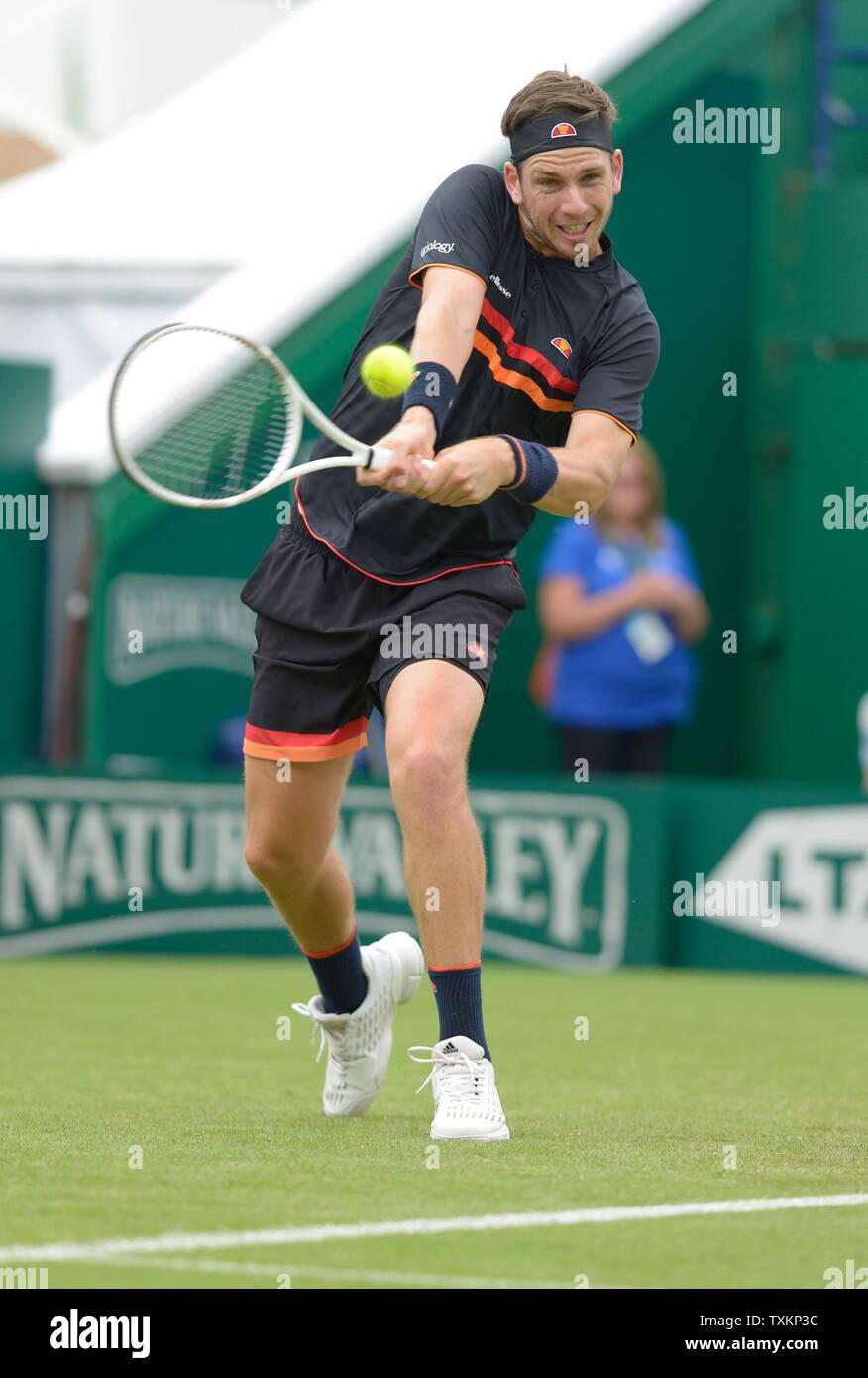 Cameron Norrie (GBR) a Eastbourne, Regno Unito. Il 25 giugno, 2019. Natura Valle internazionali di tennis in Devonshire Park. Foto Stock