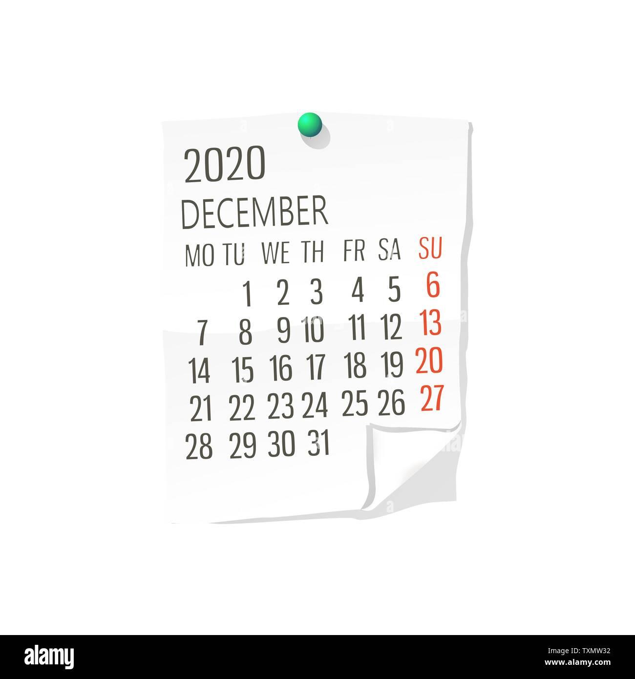 Dicembre Calendario 2020.Calendario Del Vettore Per Dicembre 2020 Su Carta Bianca Con