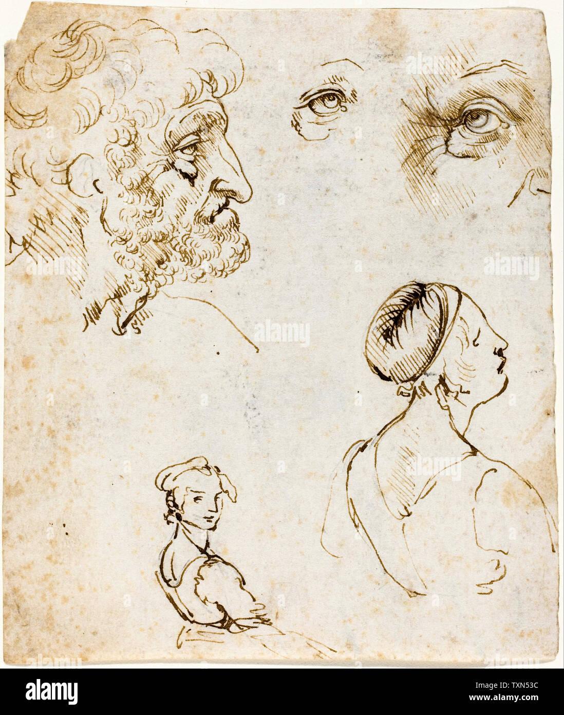 Leonardo Da Vinci, foglio di studi, disegno, circa 1470 Foto Stock