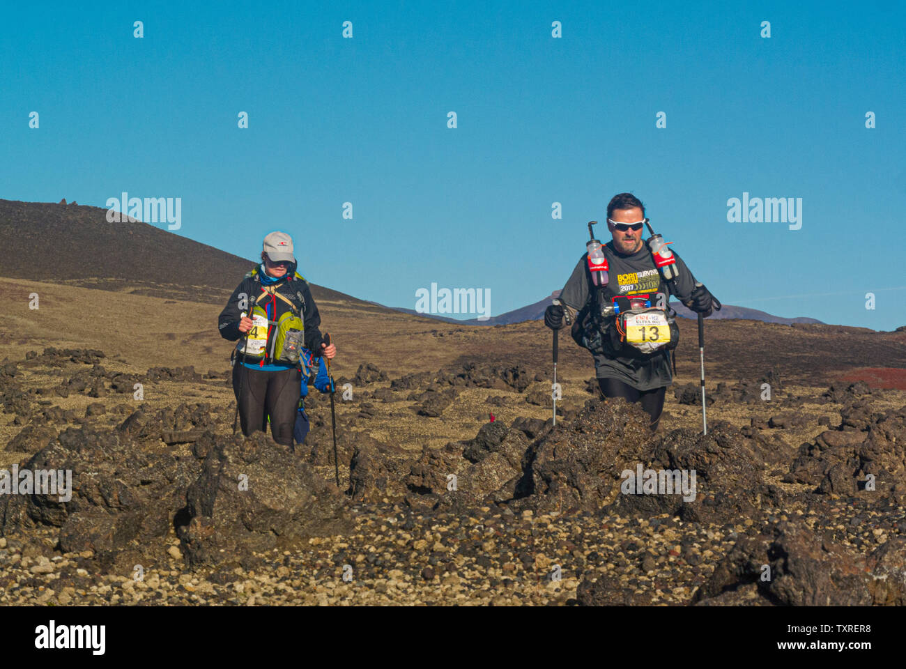 Concorrenti nel fuoco e ghiaccio Ultra gara endurance, Islanda 2017. Foto Stock