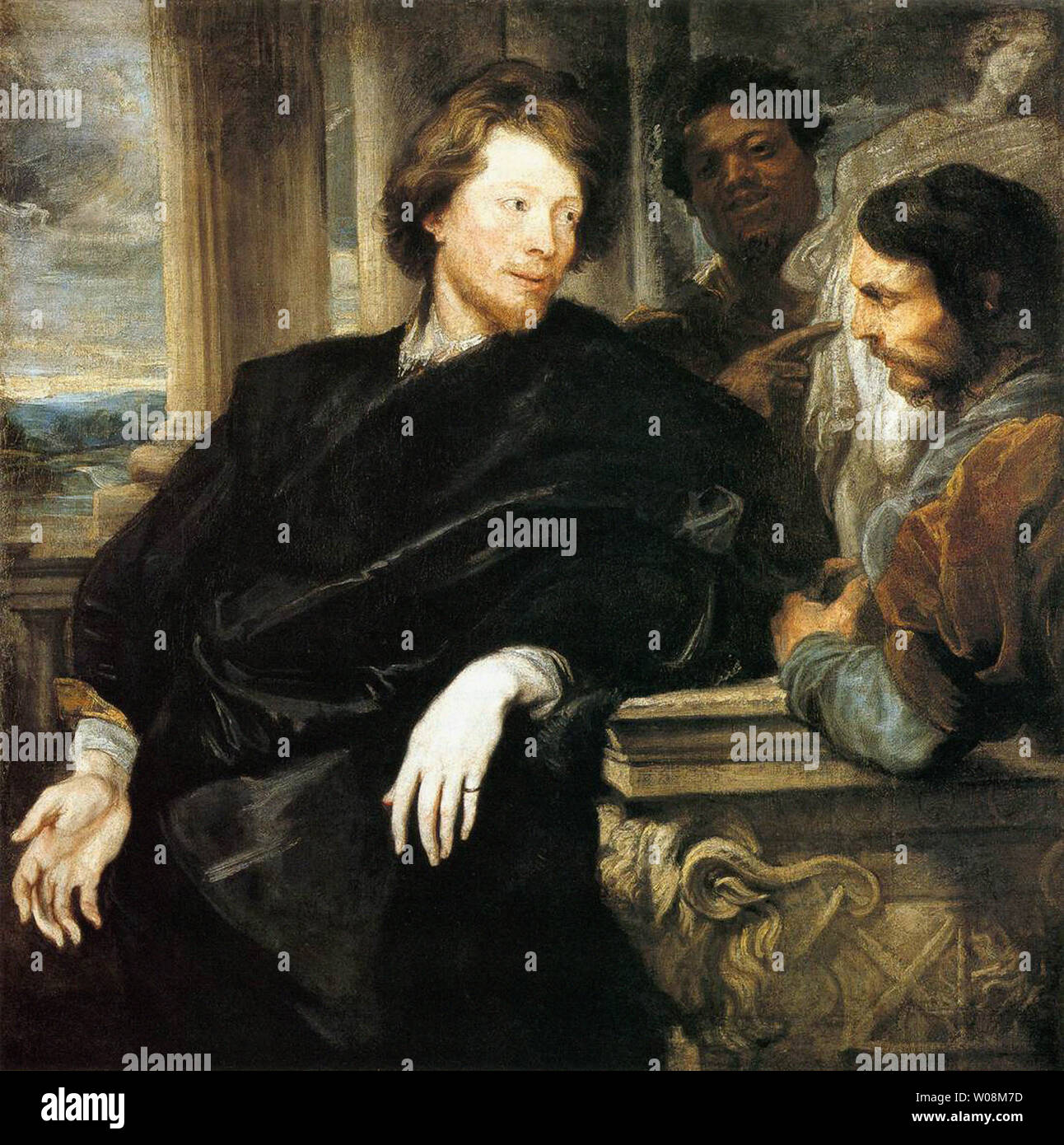 Anthony van Dyck - George Gage con due uomini 1623 Immagini Stock