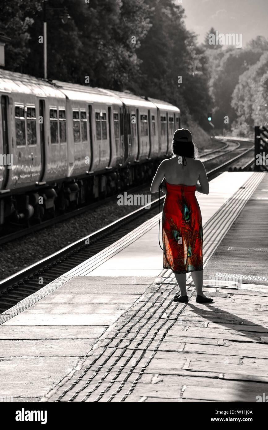Addio, addio, Adieu, Hebden Bridge stazione ferroviaria, Yorkshire Immagini Stock