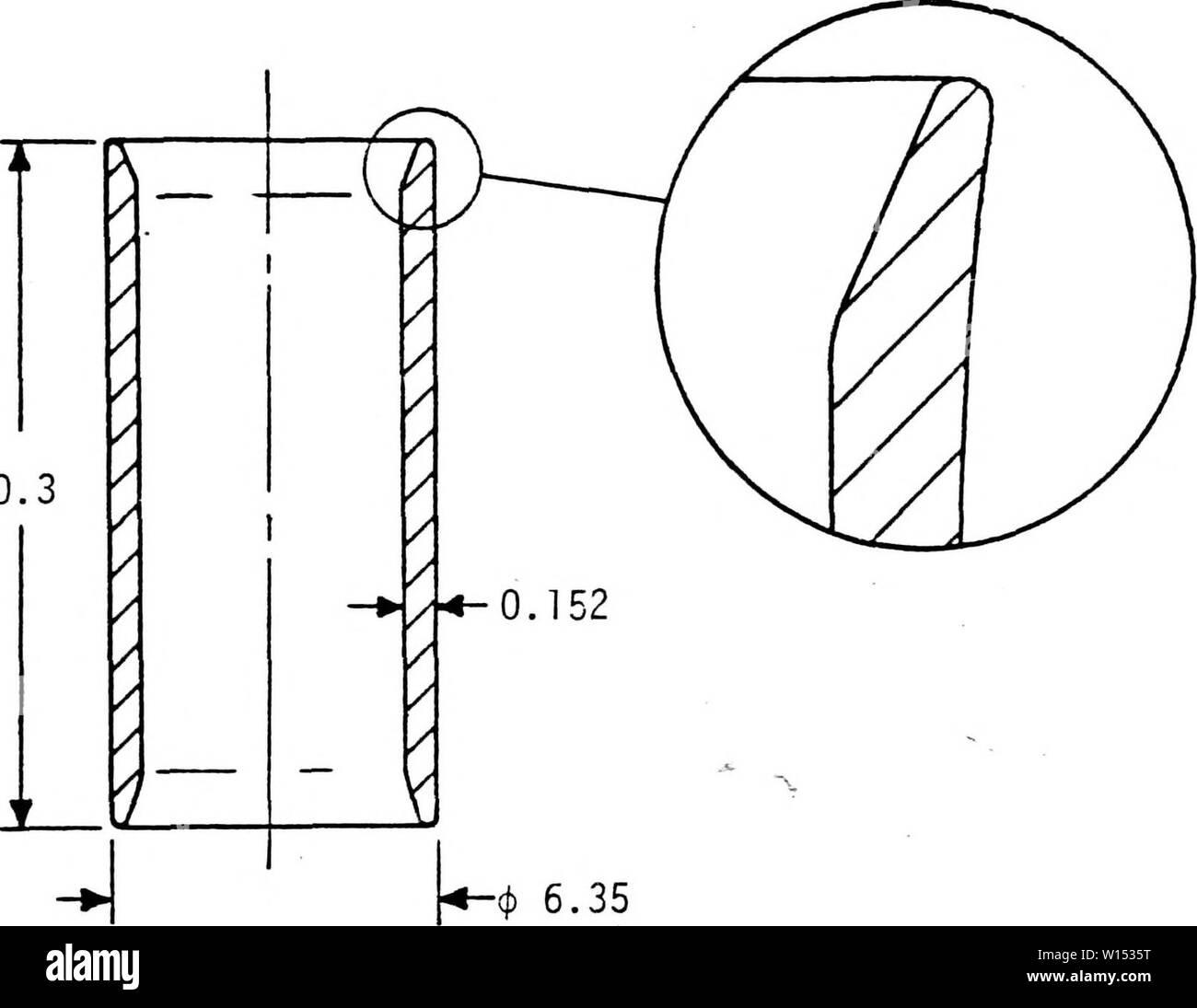 Immagine di archivio da pagina 107 delle caratteristiche dielettriche di PZT 955. Caratteristiche dielettriche di PZT 95/5 ceramica ferroelettrica ad alte pressioni . dielectriccharac00spea Anno: 1977 99 20.3 - 6,35 FIGURA E-l. Dimensioni di acciaio inossidabile 304 capsule usata per contenere il campione, manganin gage e fluido. Dimensioni in mm. 3.81 Immagini Stock