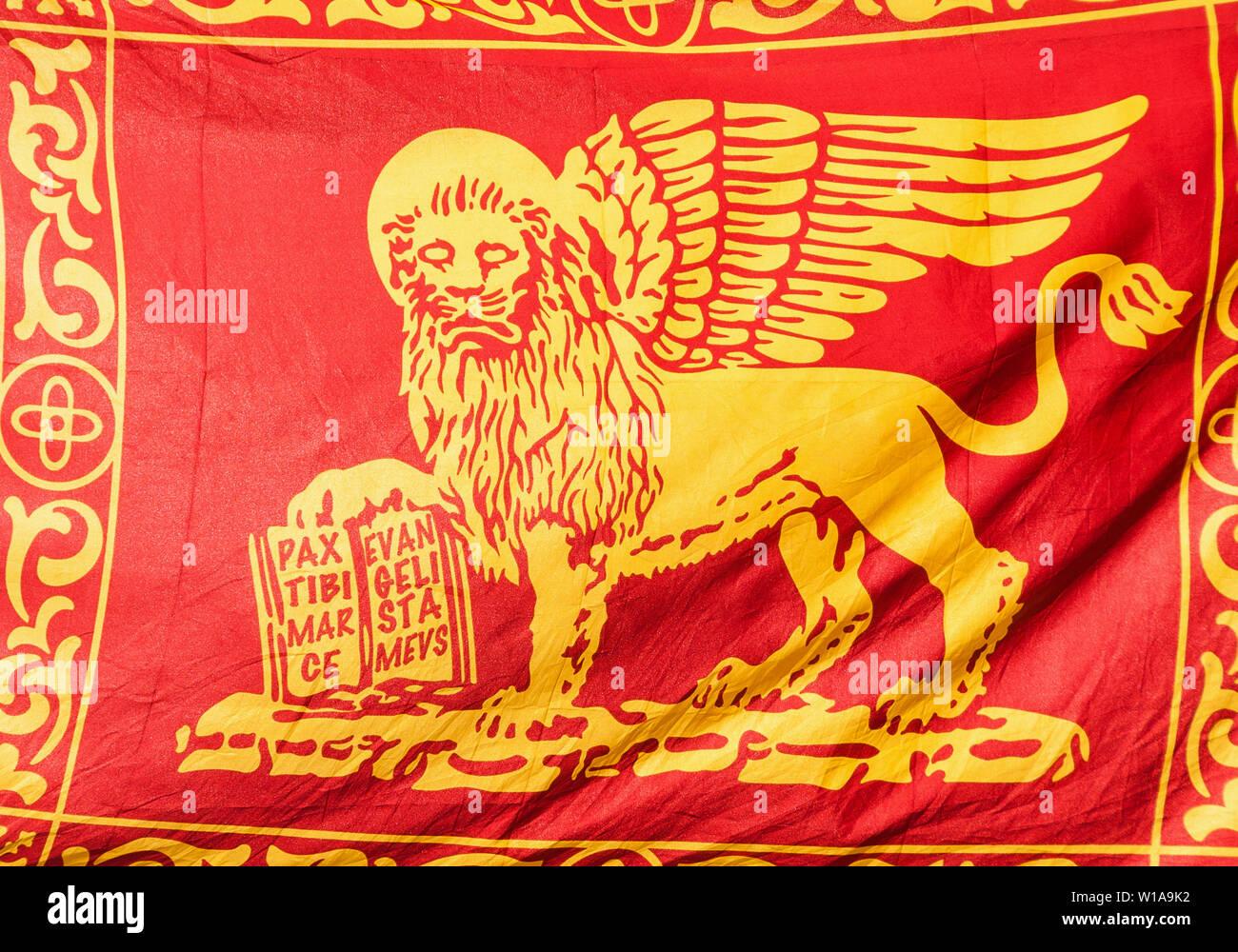 """Antica Venezia Bandiera della Repubblica di San Marco Lion e motto """" Pax tibi Marce, evangelista meus"""" (La Pace sia con te, o Mark, il mio evangelista) come sfondo Foto Stock"""