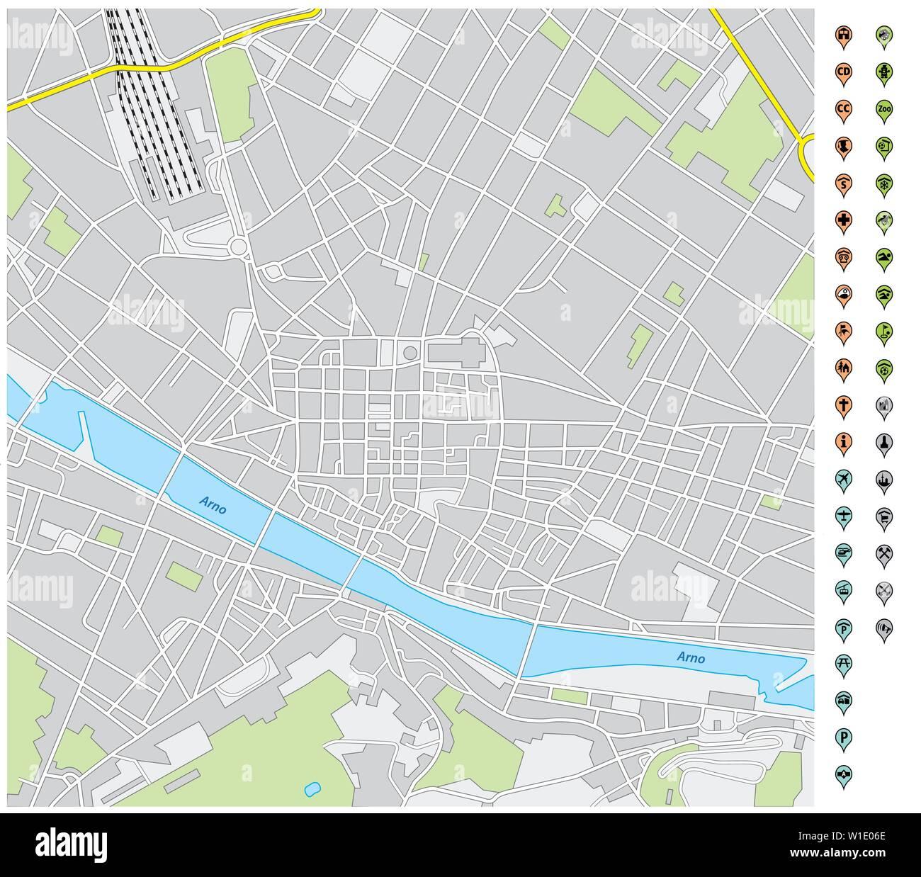 Cartina Stradale Firenze Centro.Florence Map Immagini Florence Map Fotos Stock Alamy