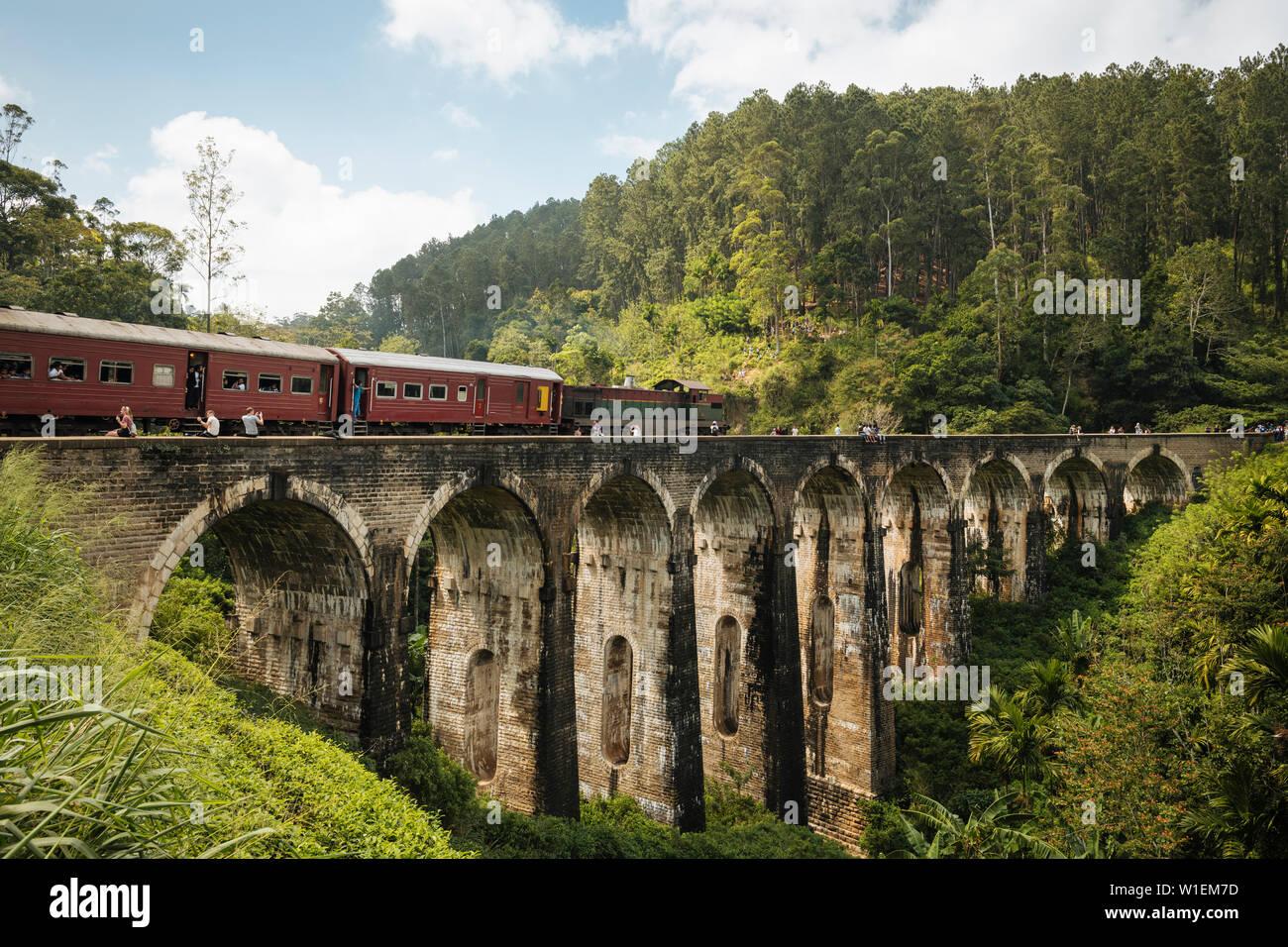 Il treno attraversa nove ponte di Arco, Ella, provincia di Uva, Sri Lanka, Asia Foto Stock