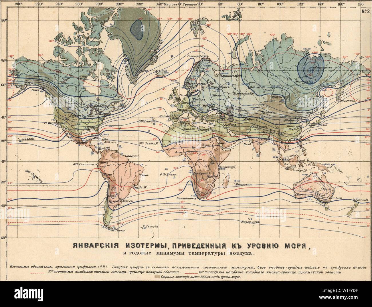 Messa a terra la climatologia Maps Mappa del gennaio isoterme dato al livello del mare nuova tabella atlas A.F. Marcks San Pietroburgo, 1910 Immagini Stock