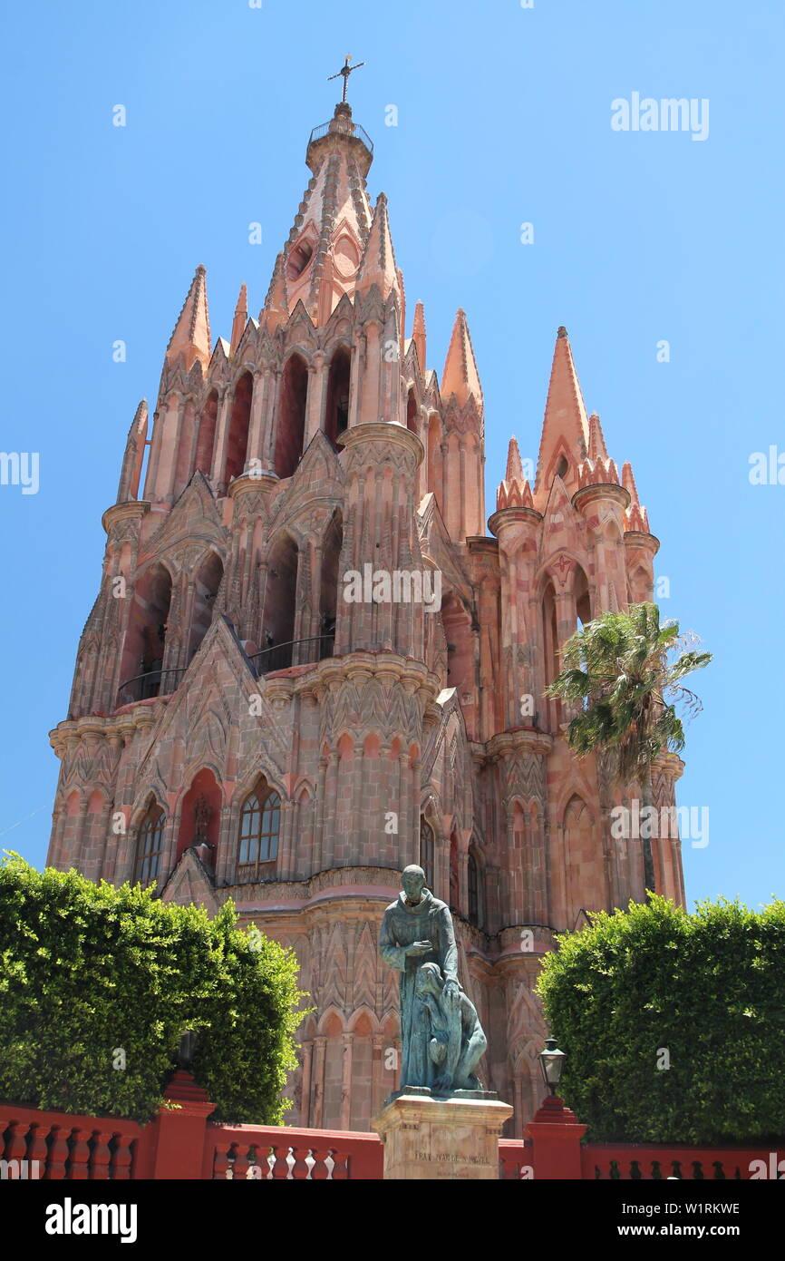La Parroquia, la parrocchia di San Miguel De Allende, Guanajuato, Messico. Foto Stock