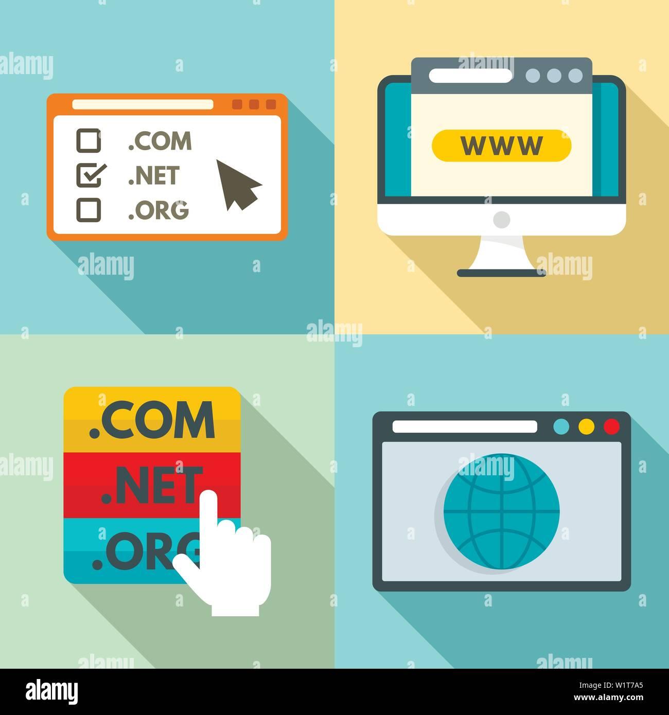 5d9ad73baa Dominio di set di icone. Set piatto di dominio icone vettoriali per il web  design