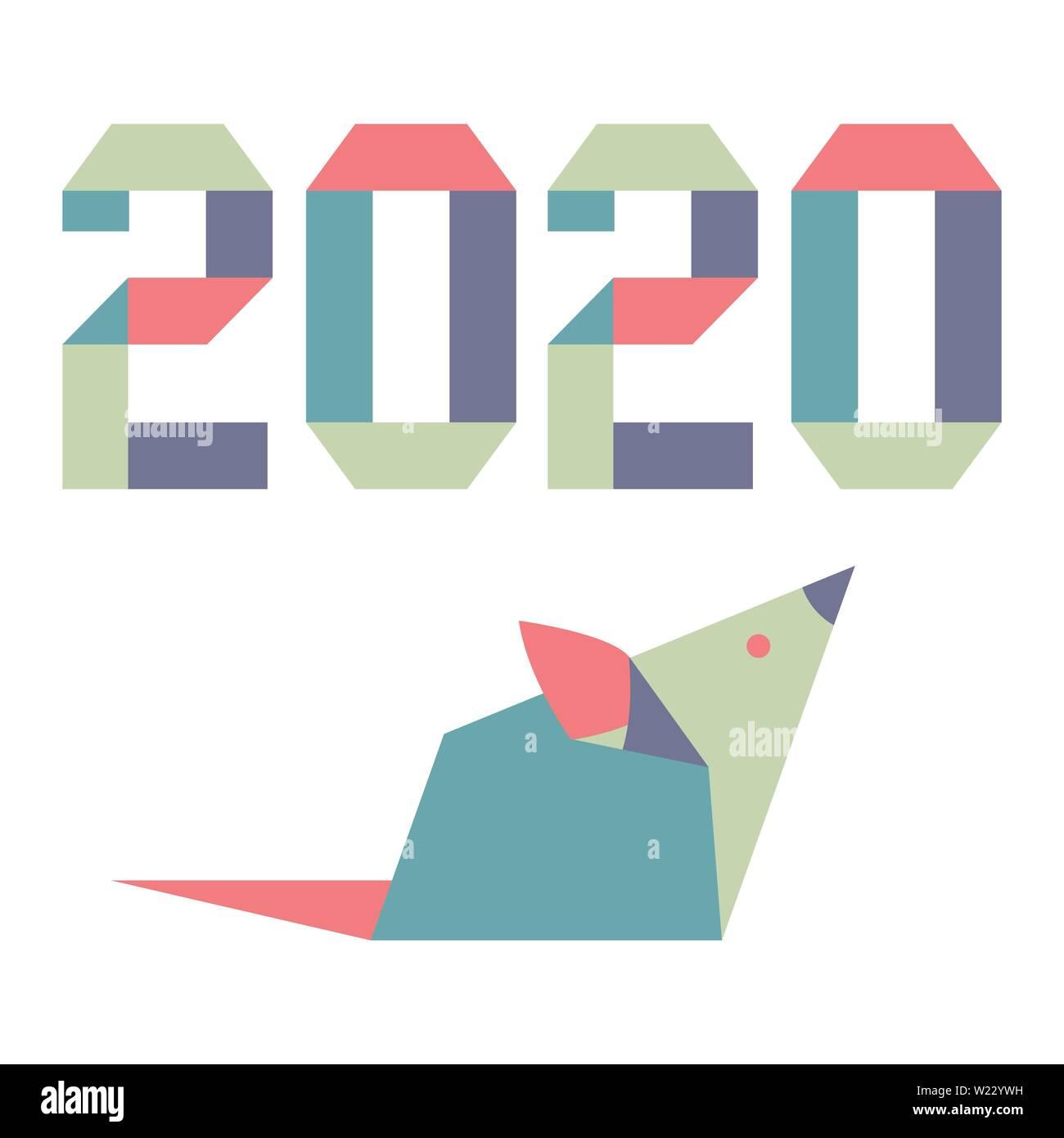 Calendario Cinese 2020.Felice Anno Nuovo Illustrazione Vettoriale Con Origami Anno