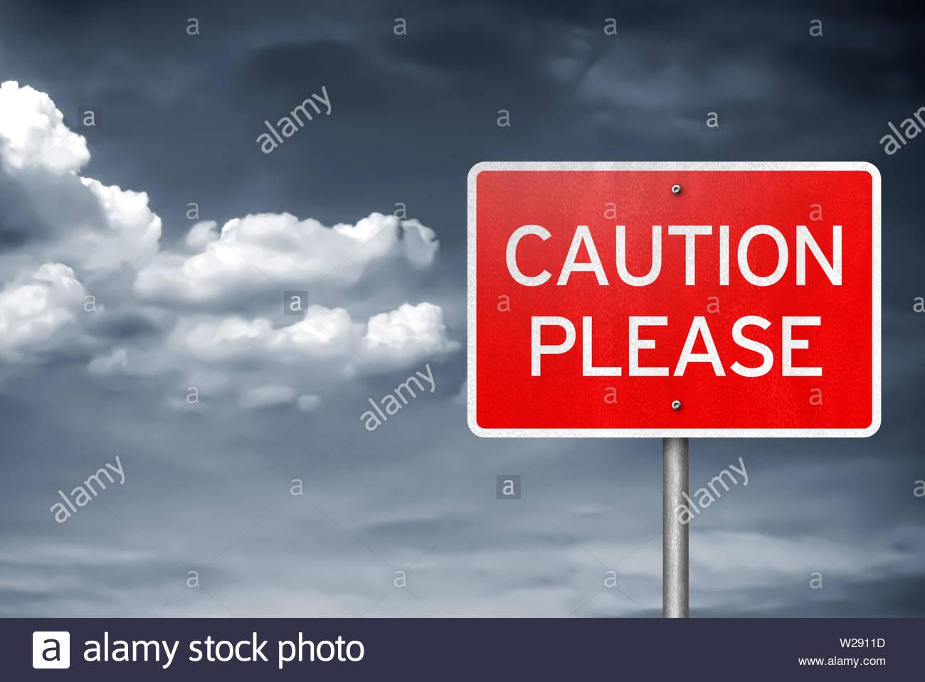 Attenzione Si prega di - segno di traffico informazioni Immagini Stock