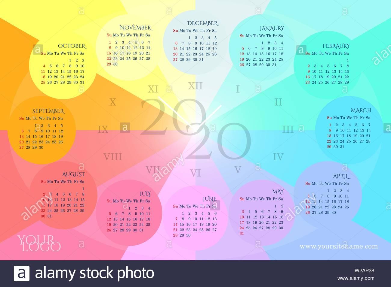 Calendario 2020 Con Numero Delle Settimane.Rainbow Calendario Da Parete 2020 Nella Forma Di Un Orologio